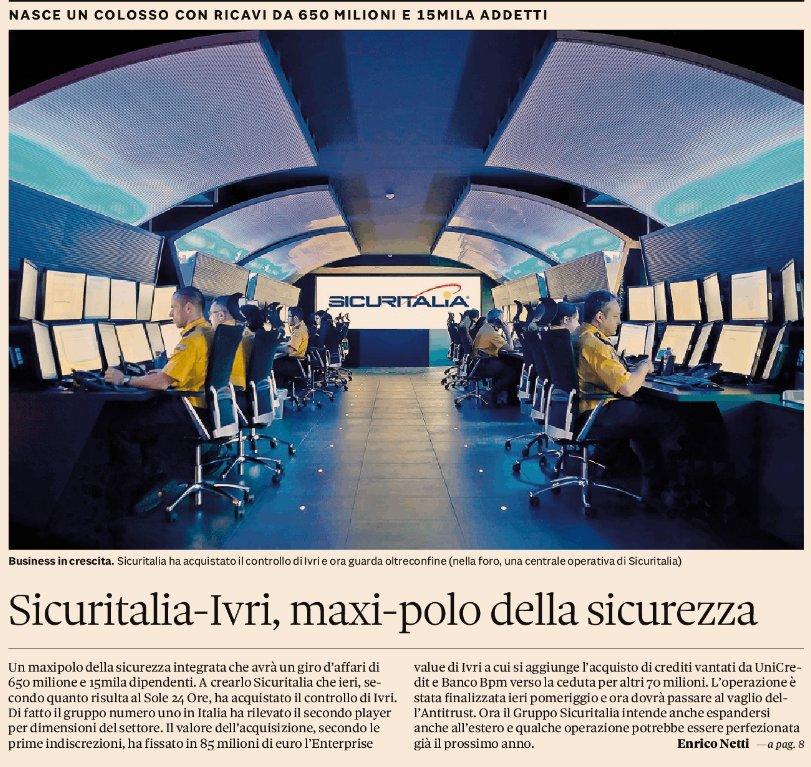 Sicuritalia Acquisisce Ivri Nasce Il Polo Italiano Della Sicurezza Sicuritalia